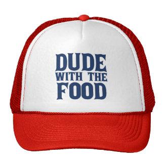 Tipo con el azul de la comida gorra