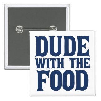 Tipo con el azul de la comida pin cuadrada 5 cm