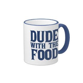 Tipo con el azul de la comida taza a dos colores