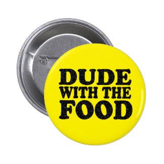 Tipo con el botón del perno de la comida
