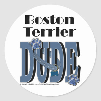 TIPO de Boston Terrier Pegatina Redonda