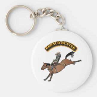 Tipo de caballo salvaje con el texto llavero redondo tipo chapa