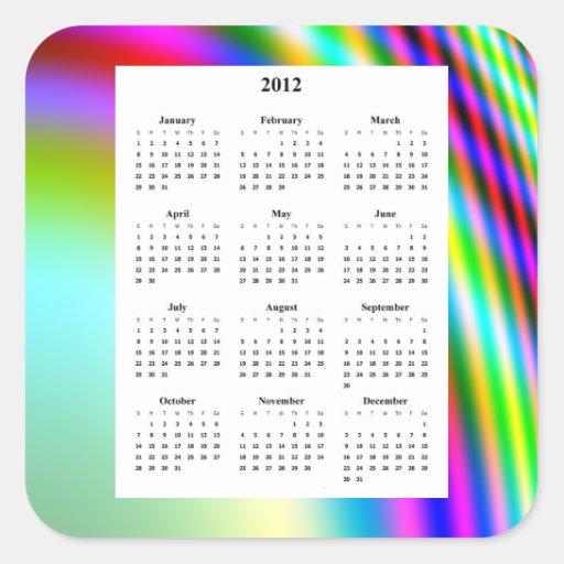 "Tipo ""de neón"" colorido calendario del diseño 2012 pegatinas"