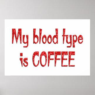 Tipo de sangre del café impresiones