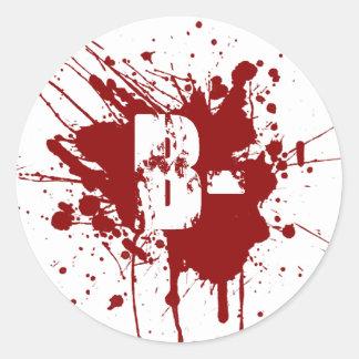 Tipo de sangre negativo de B zombi del vampiro de Pegatinas Redondas
