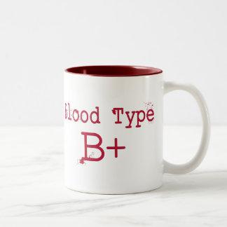 Tipo de sangre positivo de B Taza De Café De Dos Colores