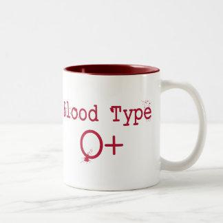 Tipo de sangre positivo de O Taza De Café De Dos Colores