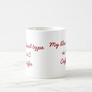 Tipo de sangre taza de café de C