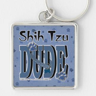 TIPO de Shih Tzu Llavero Cuadrado Plateado