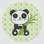 Tipo de tela de algodón la panda etiqueta redonda