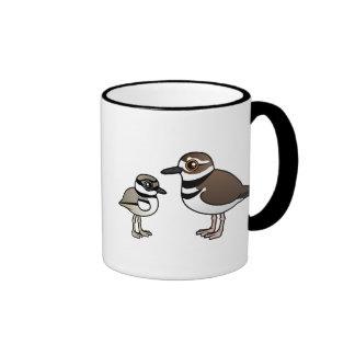 Tipo de tero norteamericano y polluelo taza de café