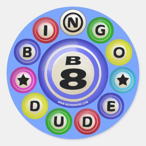 Tipo del bingo B8 Pegatina Redonda