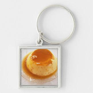 Tipo del caramelo de nata de pudín con caramelo llavero cuadrado plateado