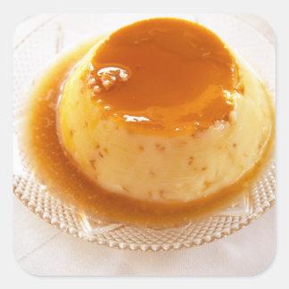 Tipo del caramelo de nata de pudín con caramelo pegatina cuadrada