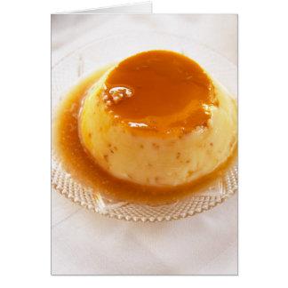 Tipo del caramelo de nata de pudín con caramelo tarjeta de felicitación