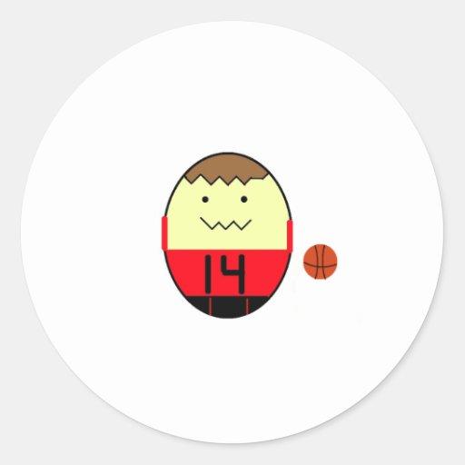 Tipo del huevo del baloncesto etiqueta redonda