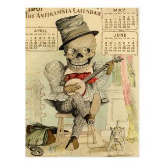 Tipo ESQUELÉTICO, gótico, banjo Player, calendario Postal
