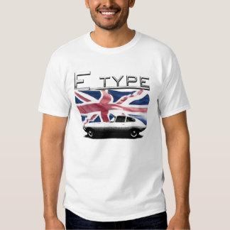 Tipo Jaguar de E en las camisetas BRITÁNICAS del Playeras