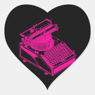 Tipo magenta máquina de la escritura pegatina en forma de corazón