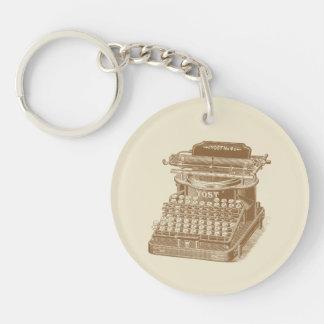Tipo máquina de Brown de la máquina de escribir Llavero Redondo Acrílico A Una Cara