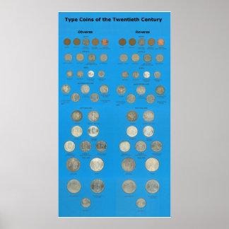 Tipo monedas de los E E U U Poster
