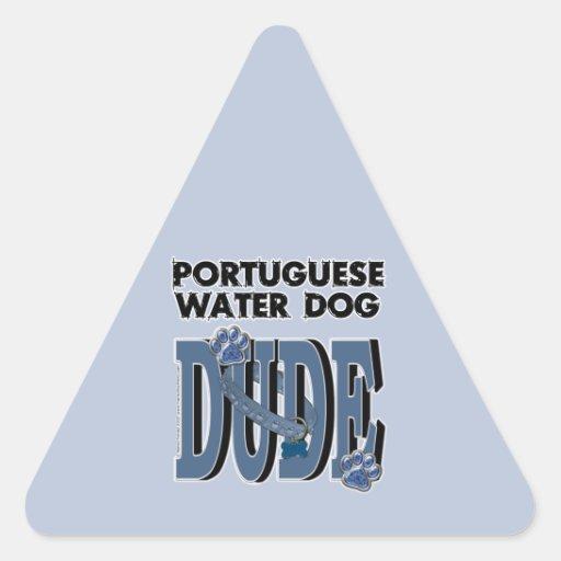 TIPO portugués del perro de agua Calcomanía Trianguladas Personalizadas