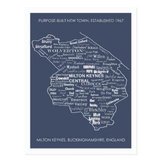Tipo postal de Milton Keynes del mapa