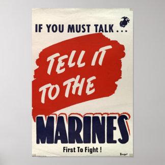 """Tipo poster """"Cuerpo del Marines """" del tiempo de gu"""