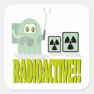 tipo radiactivo lindo calcomanías cuadradases