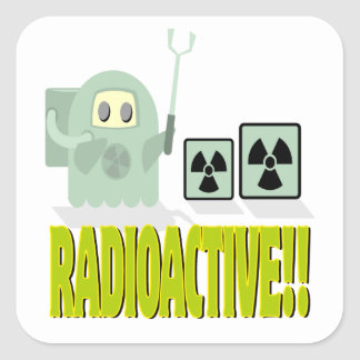 tipo radiactivo lindo calcomanías cuadradass personalizadas