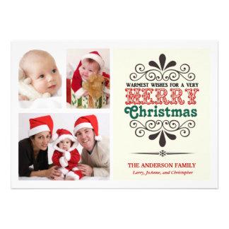 Tipo retro tarjeta plana de la Tri Foto del navida