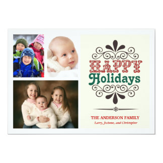 Tipo retro tarjeta plana del collage del día de invitaciones personalizada