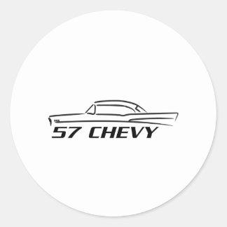 Tipo superior duro 1957 de Chevy Pegatina Redonda