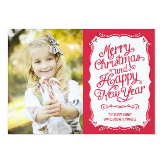 Tipo tarjeta de la foto del día de fiesta - rojo anuncios personalizados
