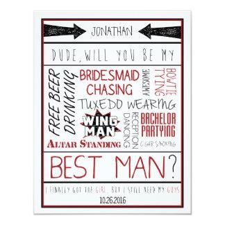 """¿Tipo, usted será mi mejor hombre? Collage Invitación 4.25"""" X 5.5"""""""