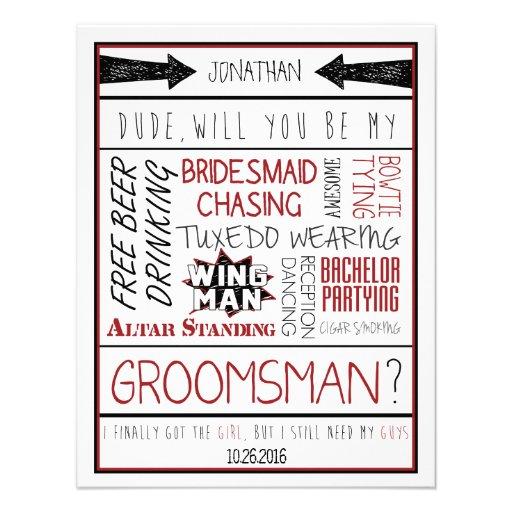 ¿Tipo, usted será mi padrino de boda? Collage rojo Comunicado Personalizado