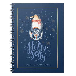 Tipografía alegre y pingüinos del navidad del note book