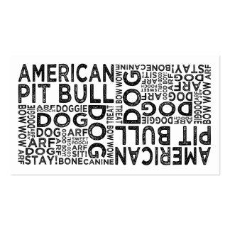 Tipografía americana del pitbull tarjetas de visita