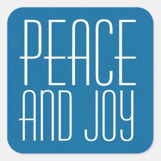 Tipografía azul y blanca de la paz y de la alegría pegatina cuadrada