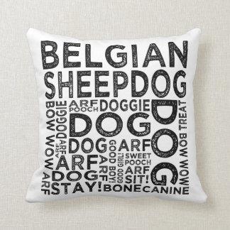 Tipografía belga del perro pastor cojín decorativo
