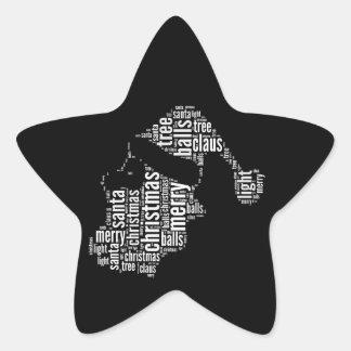 Tipografía blanca negra divertida de Santa de las Pegatina En Forma De Estrella