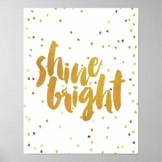 Tipografía brillante del oro del brillo póster