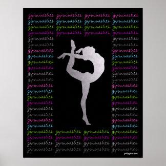 Tipografía colorida de la gimnasia artística póster