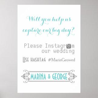 Tipografía con casarse de la aguamarina del hashta impresiones