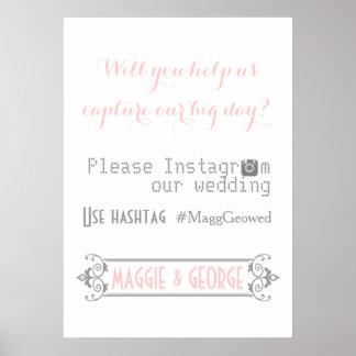 Tipografía con el boda del rosa del hashtag de Ins Póster