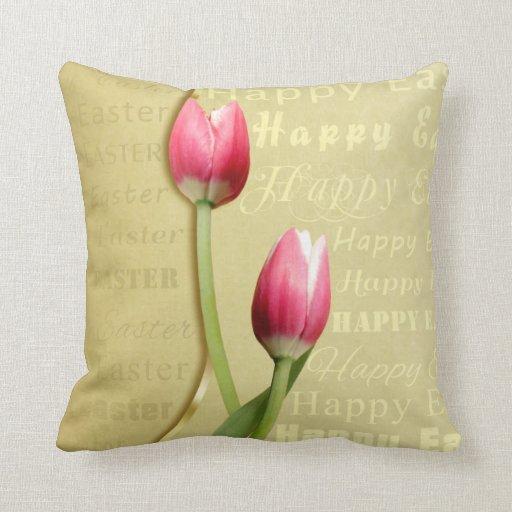 Tipografía con los tulipanes - almohada de Pascua
