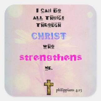 Tipografía cristiana inspirada de la cita de la pegatina cuadrada