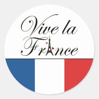 Tipografía de Francia del la de Viva Pegatina Redonda