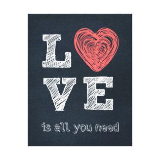 Tipografía de la cita del amor lona estirada galerias