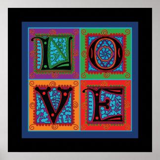 Tipografía de la palabra del amor póster